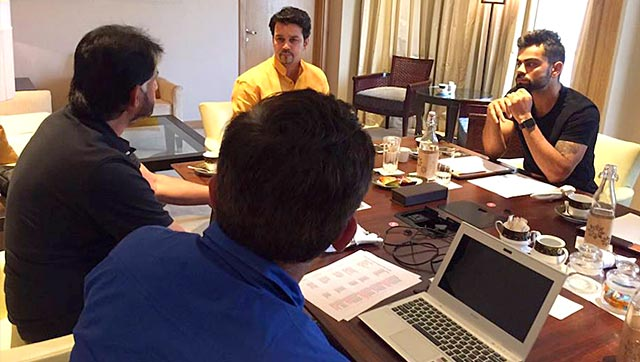 The BCCI national selection committee, along with Test captain Virat Kohli, right, and BCCI secretary Anurag Thakur, second from right, at a meeting in New Delhi on July 23, 2015 to announce the squad for the three-Test tour of Sri Lanka. Photo: Facebook.com/IndianCricketTeam