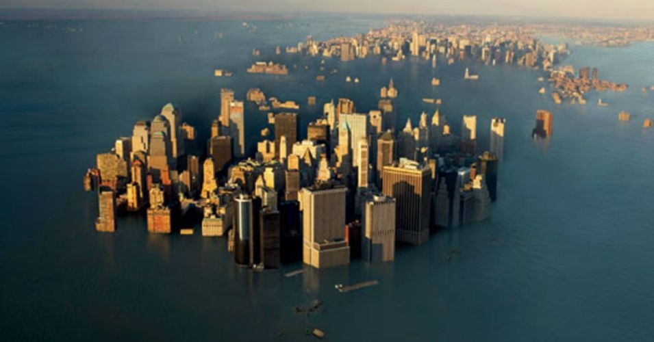 'Roughly 10 feet of sea level rise—well beyond previous estimates—would render coastal cities such as New York, London, and Shanghai uninhabitable.' (Image: Woodbine)
