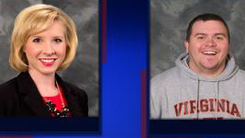 Parker, left, was conducting an interview about tourism on Bridgewater Plaza in Franklin County before her and Ward were killed [WDBJ7]