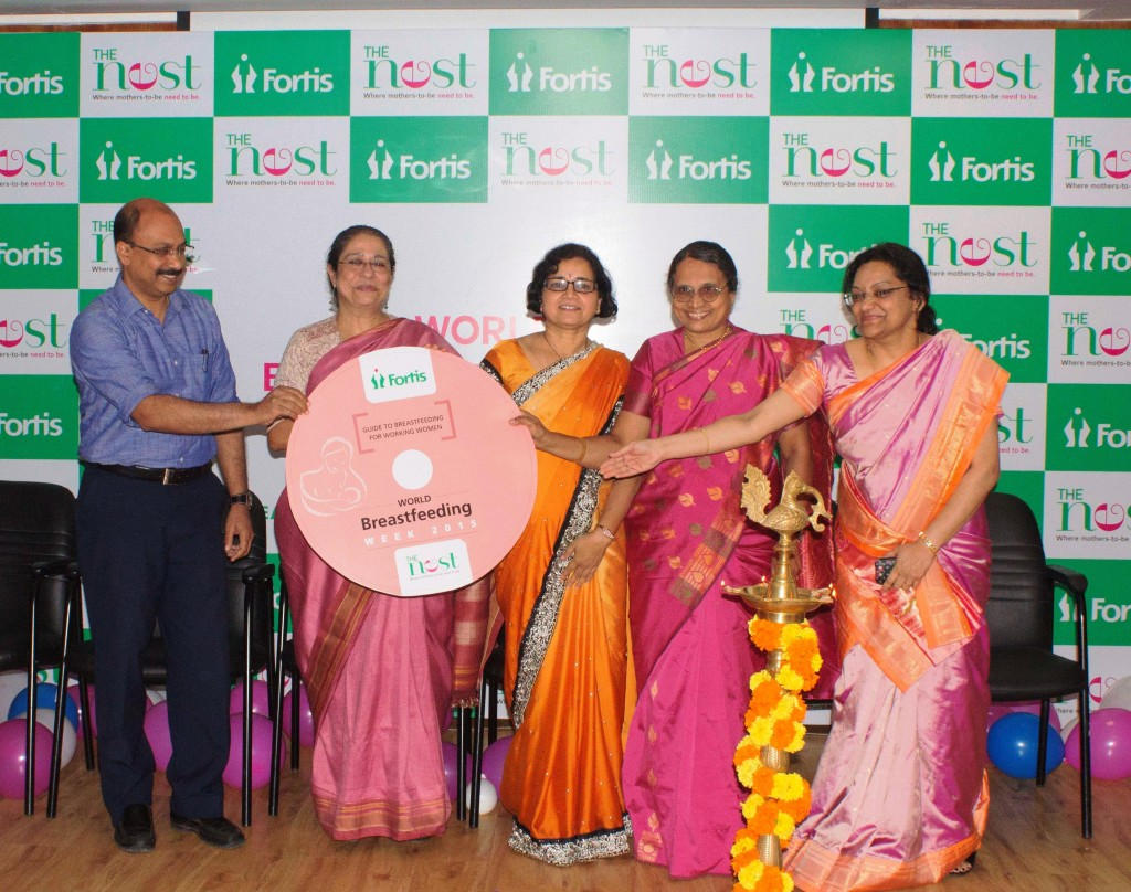 Left to Right : Dr. Prakash Vemgal, HOD Neonatology & Paediatrics, Renowned theatre personality Arundhati Nag, Parimaladevi, Consultant Obstetrics & Gynaecologist, Joyce Jayaseelan, Counsellor and lactation consultant, Dr. Anita K Mohan, Consultant Gynaecologist & Obstetrician at Fortis Hospitals