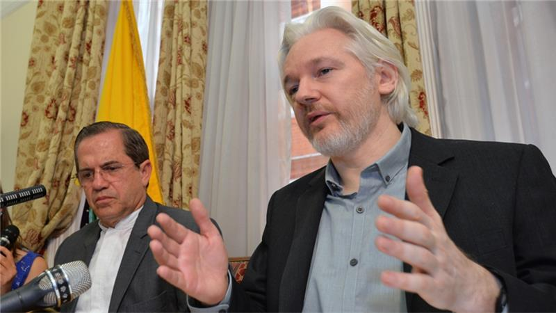 Assange (right) has always denied the sexual assault allegations against him [AP]