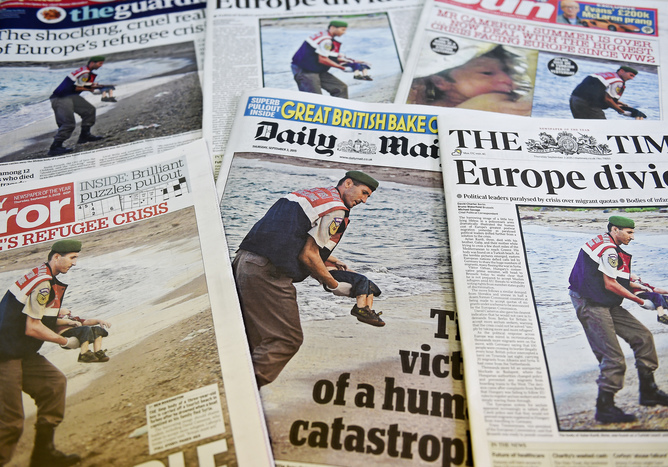 Newspapers report the death of Aylan Kurdi. EPA/Andy Rain