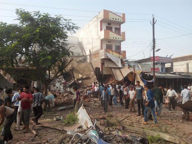 The blast site at Petlwad town in Jhabua district of Madhya Pradesh on Saturday