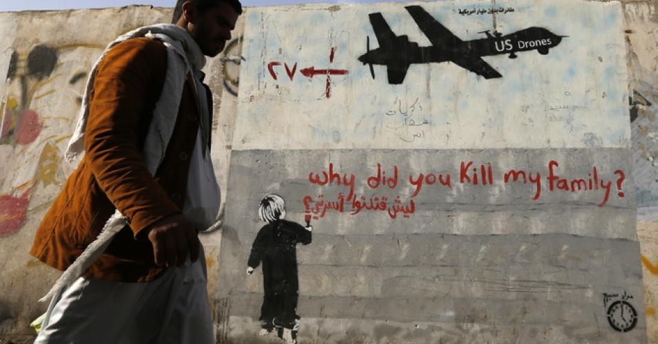 Graffiti denouncing strikes by US drones in Yemen. (Photo: Khaled Abdullah/Reuters)