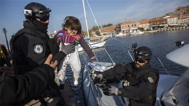 Several refugees were also rescued during an operation near the Greek island of Lesbos on Tuesday [AP]