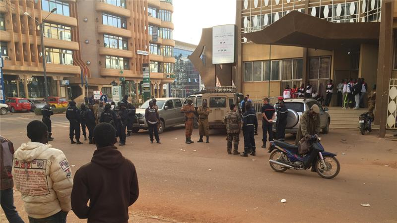 At least 22 people have been killed in the attack, - the first such assault in the capital of Burkina Faso [Ludivine Laniepce/Associated Press]