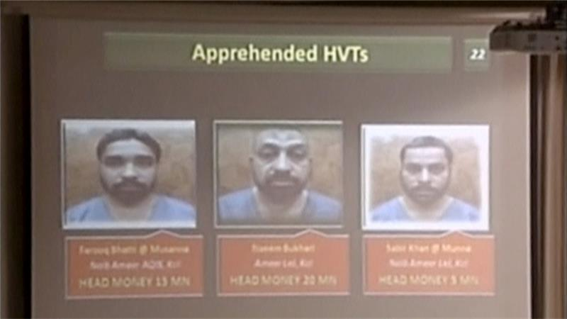 Mugshots of arrested suspects who planned to free the alleged murderer of a US journalist in 2002 [Reuters/PTV]