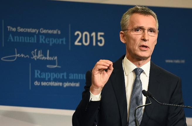 NATO Secretary General Jens Stoltenberg presents the 2015 NATO annual report during a press conference in Brussels, January 28, 2016. (AFP/Emmanuel Dunand)