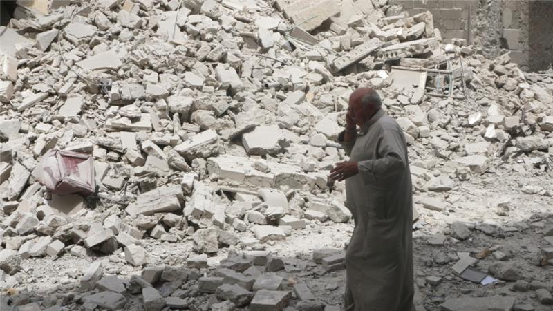 Air raids destroyed a fifth-century Church in Daret Azza village, said activists [Reuters/FILE]