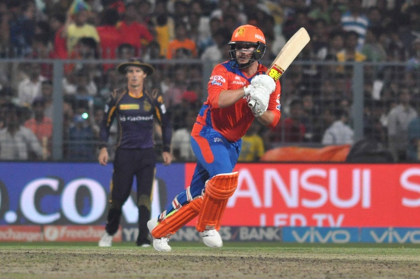 Kolkata: Aaron Finch of  Gujarat Lions in action during an IPL match between Kolkata Knight Riders and Gujarat Lions at Eden Gardens in Kolkata, on May 8, 2016. (Photo: Kuntal Chakrabarty/IANS)