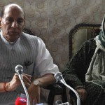 Home minister Rajnath Singh and Jammu and Kashmir CM Mehbooba Mufti during the press conference in Srinagar on Thursday. (Photo by Shuaib Masoodi, IE)