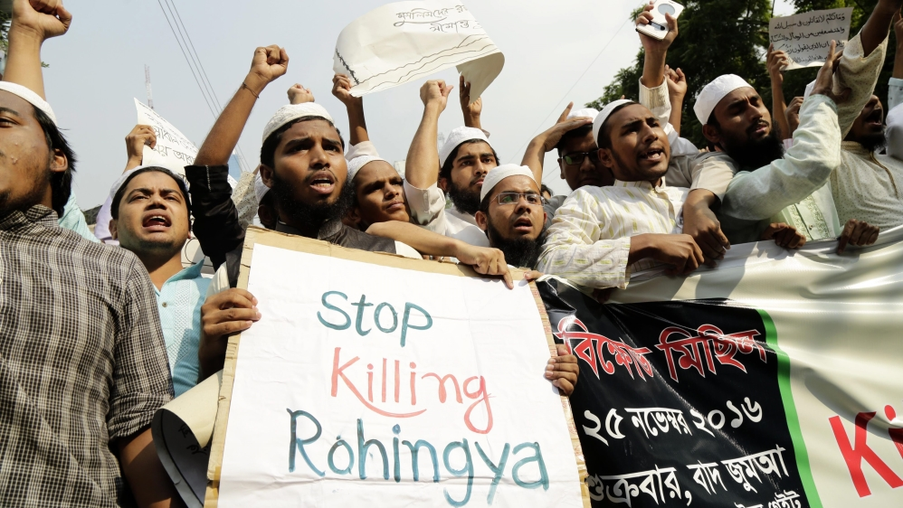 Mass protests by opposition groups and religious movements have called on Bangladesh to accept Rohingya [Abir Abdullah/EPA]