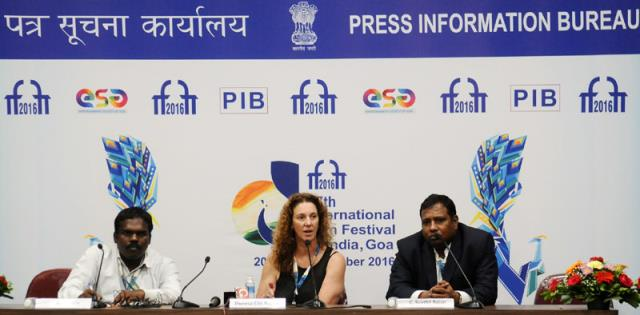 The Director, DFF, Shri C. Senthil Rajan and the Digital Effect Supervisor (AMPAS) Theresa Ellis at a press conference, during the 47th International Film Festival of India (IFFI-2016), in Panaji, Goa on November 26, 2016.