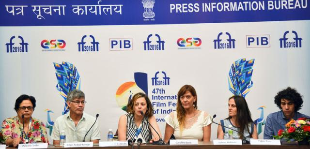 The Director Julieta Noemi Ledesma, Carolina Lusa, Jorge Anibal Roman of the film 'Son of War' at a press conference, during the 47th International Film Festival of India (IFFI-2016), in Panaji, Goa on November 26, 2016.
