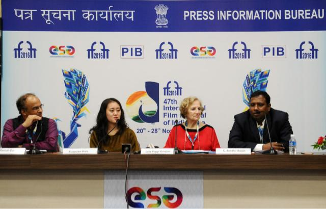 The ICFT UNESCO Gandhi Medal jury, Lola Poggi Goujan and Xueyuan Hun along with the Director, DFF, Shri C. Senthil Rajan at a press conference, during the 47th International Film Festival of India (IFFI-2016), in Panaji, Goa on November 26, 2016.