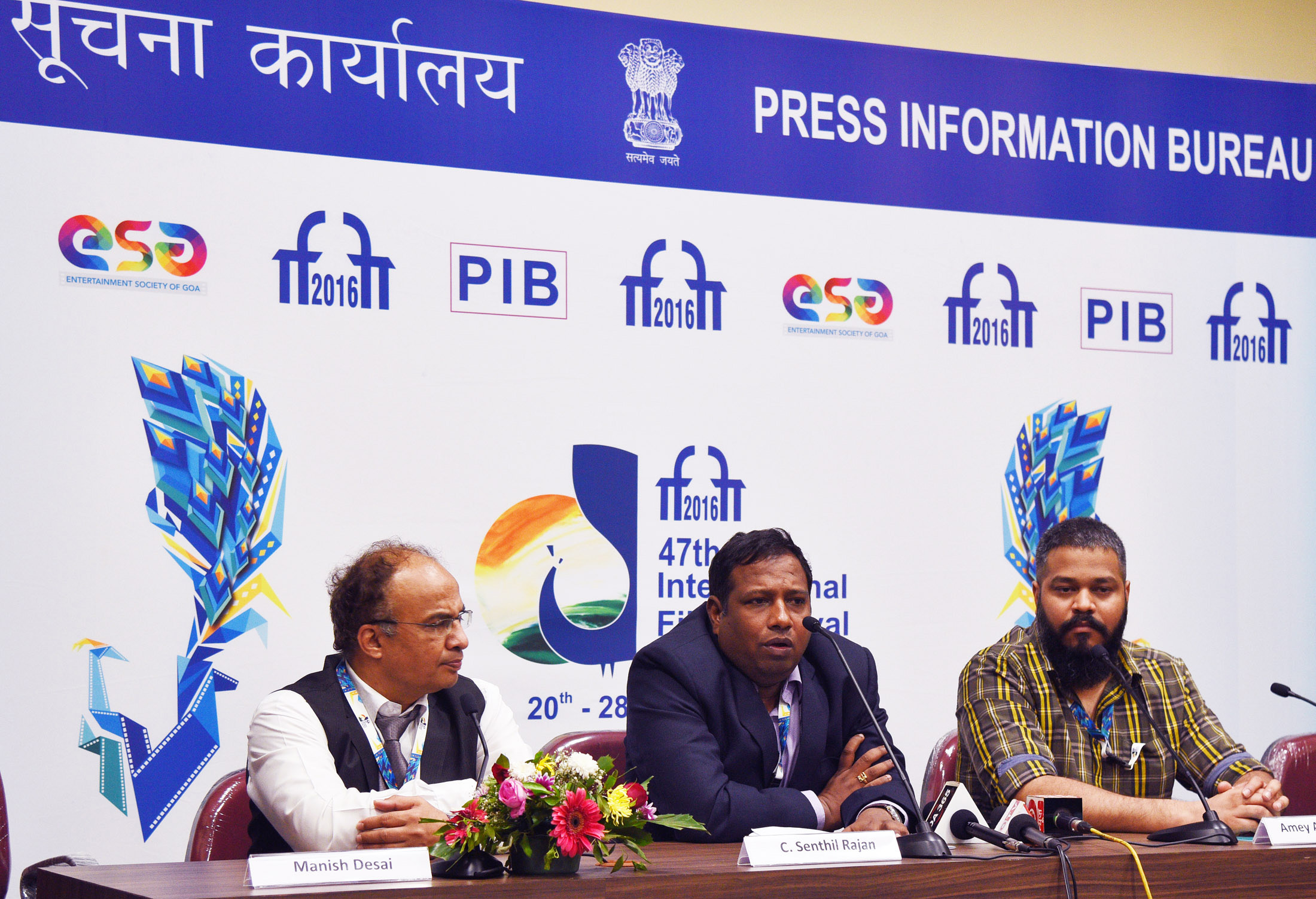 The Festival Director, Shri Senthil Rajan and the CEO, ESG, Shri Ameya Abhyankar at the Mid Fest Press Conference, during the 47th International Film Festival of India (IFFI-2016), in Panaji, Goa on November 24, 2016.