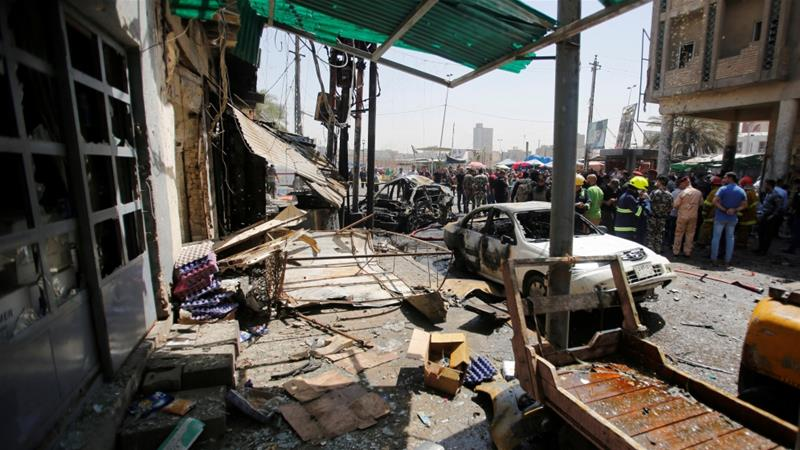In the second blast near Al-Shahada Bridge, 11 people were killed [Khalid al-Mousily/Reuters]
