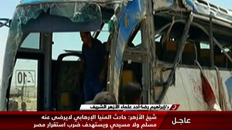 An image grab taken from Egypt's state-run Nile News TV shows the remains of the bus that was attacked while carrying Coptic Christians in Minya province [AFP/Nile News]