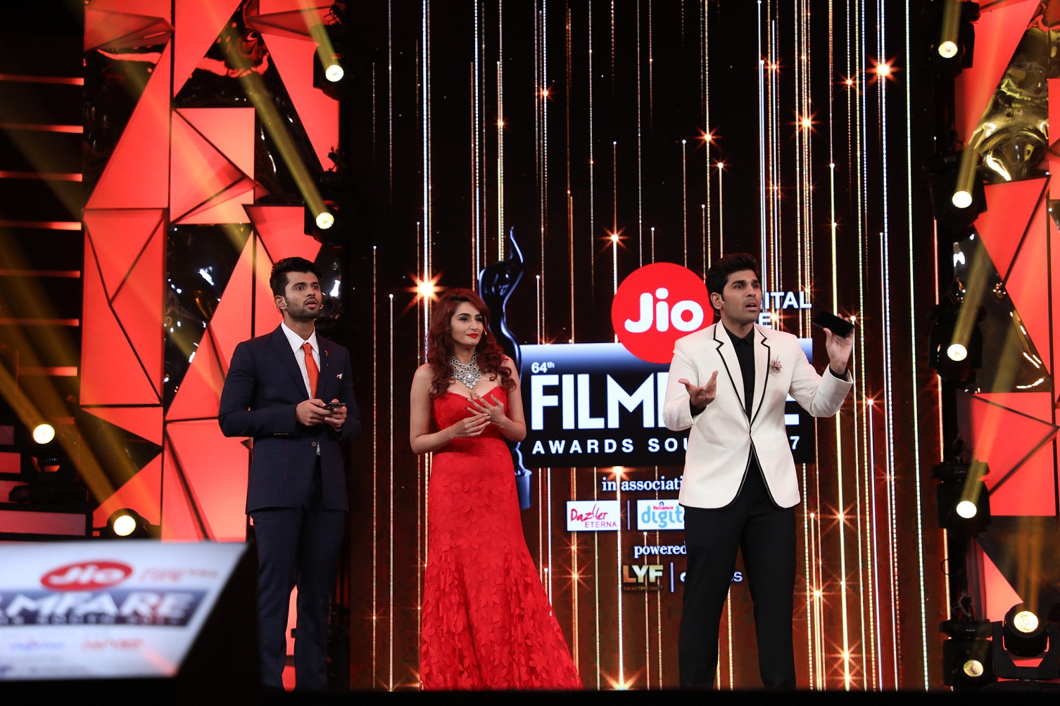 Allu Sirish Ragini Dwivedi and Vijay Deverakonda hosting the at 64th JIO Filmfare Awards South 2017